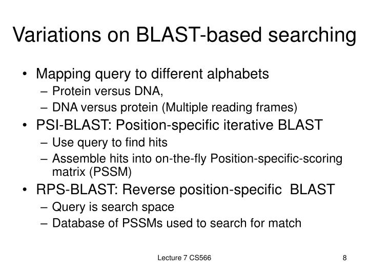 Variations on BLAST-based searching