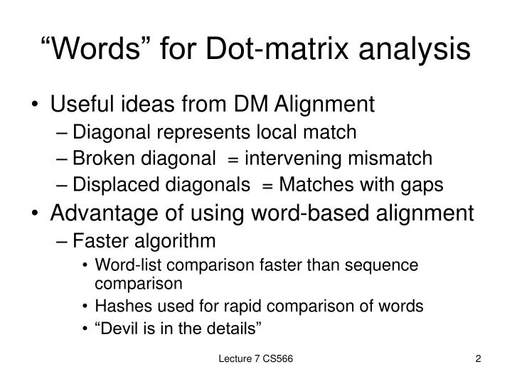 Words for dot matrix analysis