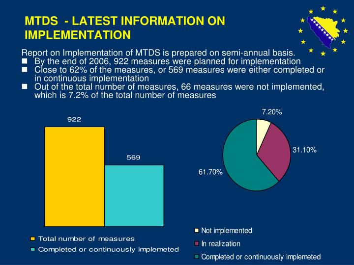 Mtds latest information on implementation
