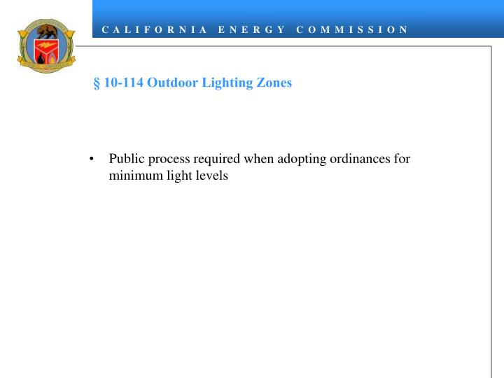 § 10-114 Outdoor Lighting Zones