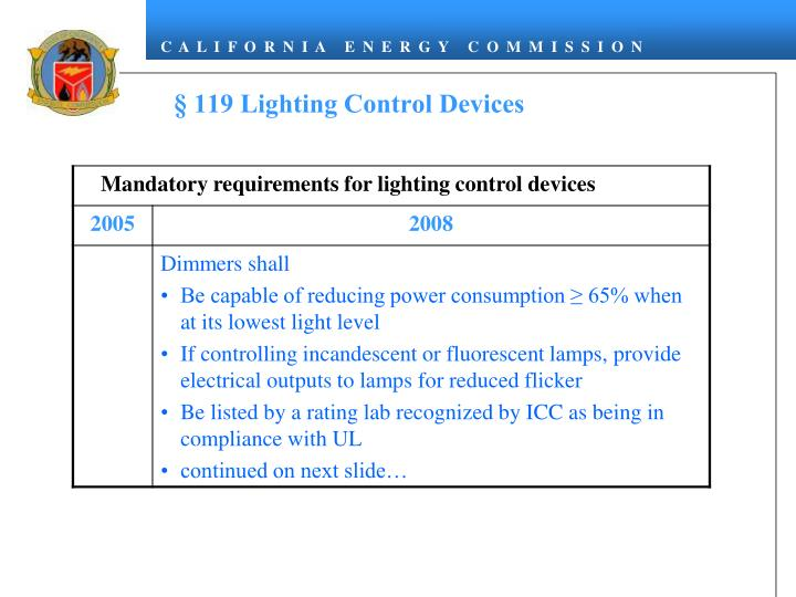 § 119 Lighting Control Devices