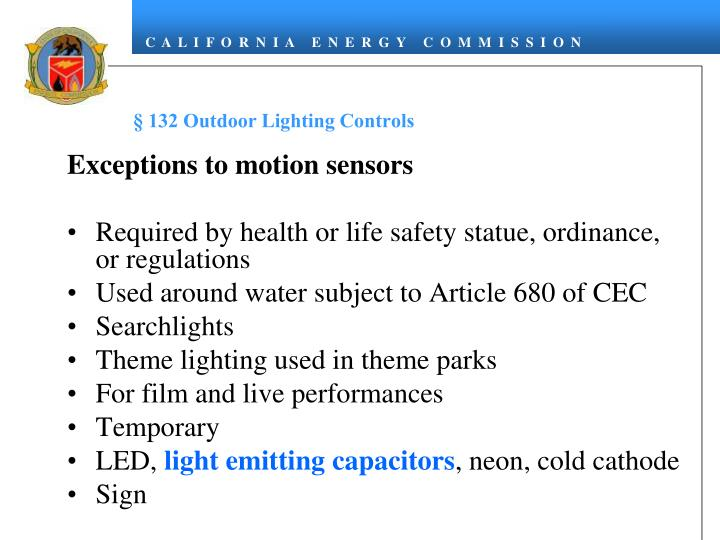 § 132 Outdoor Lighting Controls