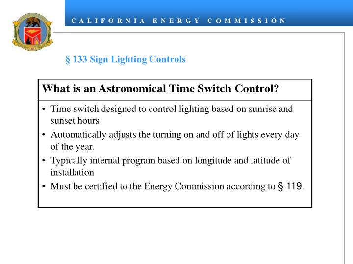 § 133 Sign Lighting Controls