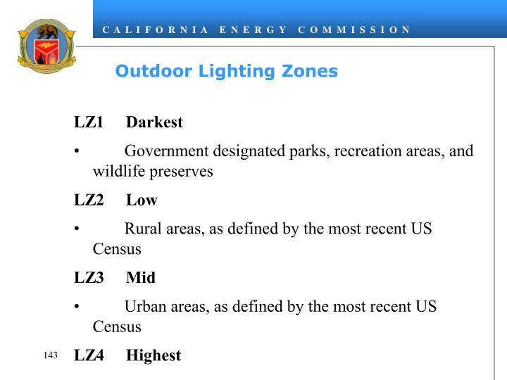 Outdoor Lighting Zones