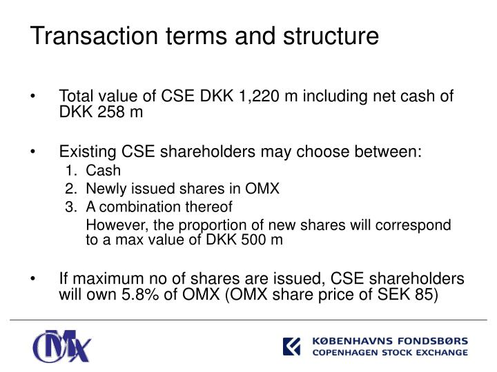 Total value of CSE DKK 1,220 m including net cash of DKK 258 m