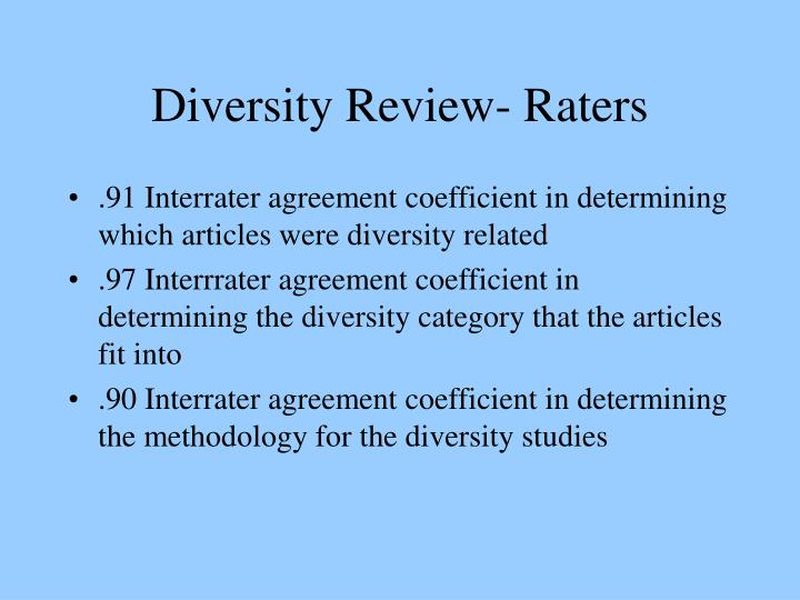Diversity Review- Raters
