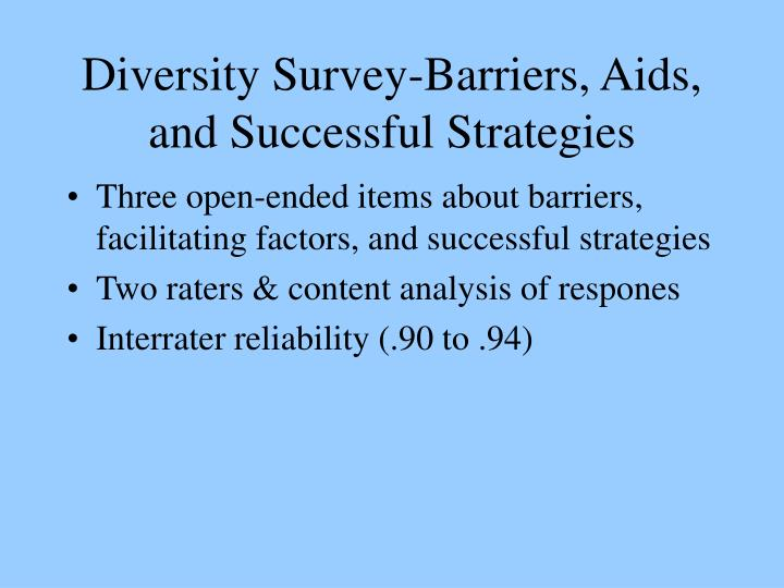 Diversity Survey-Barriers, Aids, and Successful Strategies