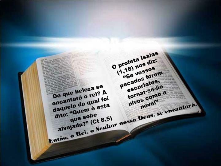 """O profeta Isaías (1,18) nos diz: """"Se vossos pecados forem escarlates, tornar-se-ão alvos como a neve!"""""""