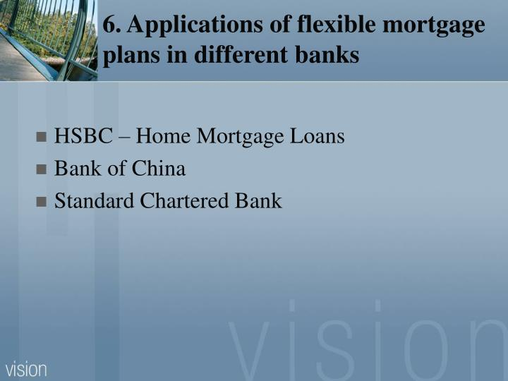6. Applications of flexible mortgage plans in different banks