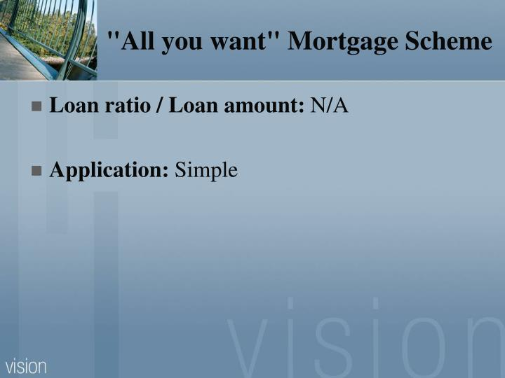 """All you want"" Mortgage Scheme"