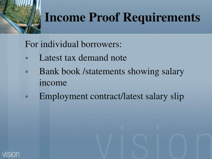 Income Proof Requirements