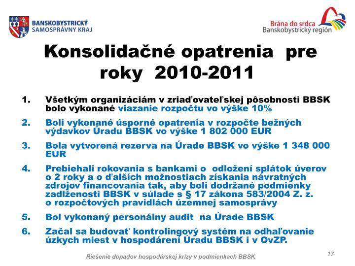 Konsolidačné opatrenia  pre roky  2010-2011