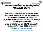 memorandum o spolupr ci na rok 2013