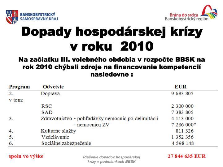 Na začiatku III. volebného obdobia vrozpočte BBSK na rok 2010 chýbali zdroje na financovanie kompetencií nasledovne :
