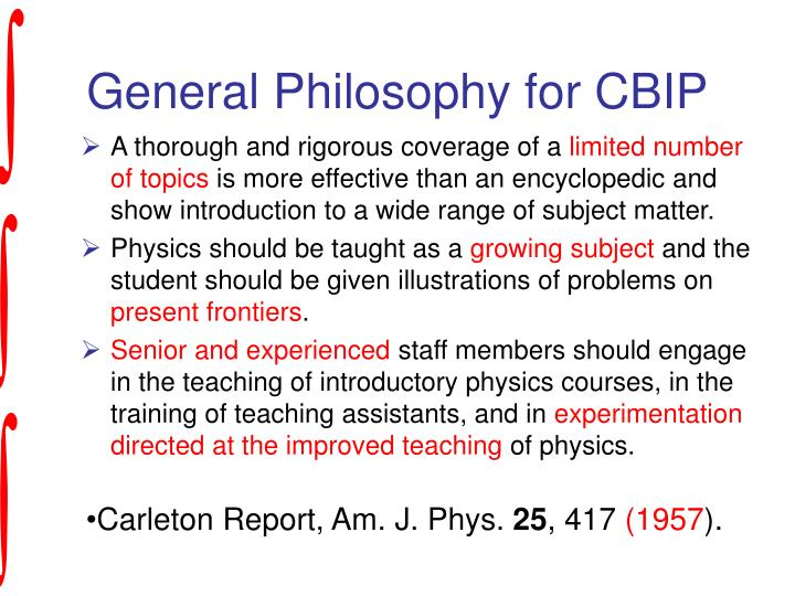 General Philosophy for CBIP