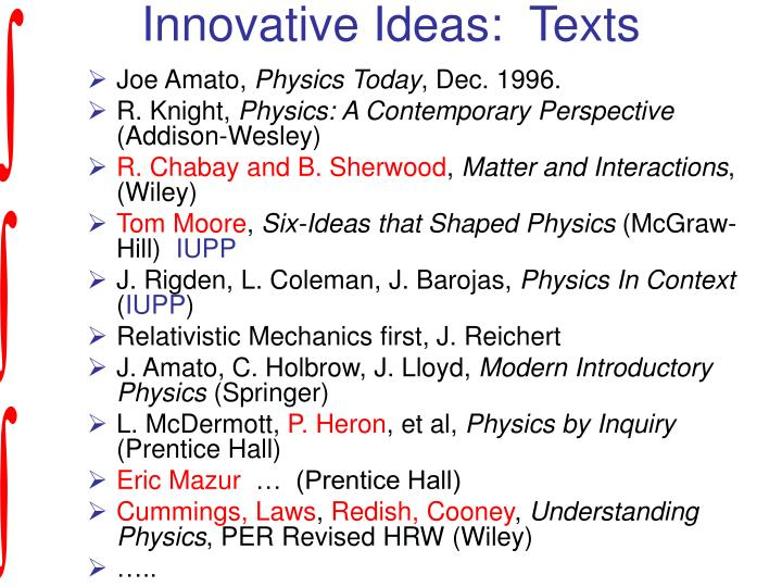 Innovative Ideas:  Texts