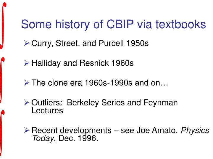 Some history of CBIP via textbooks