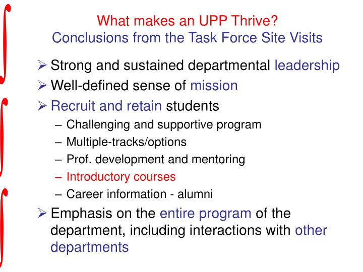 What makes an UPP Thrive?