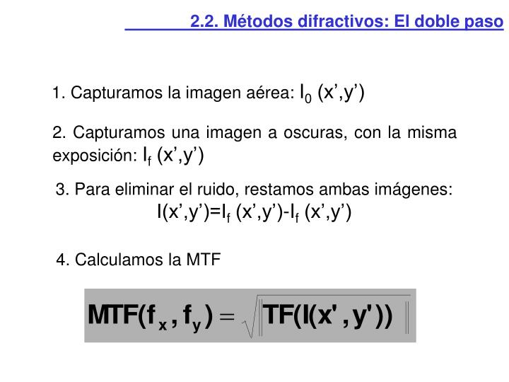 2.2. Métodos difractivos: El doble paso