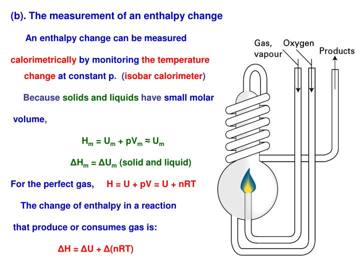 (b). The measurement of an enthalpy change