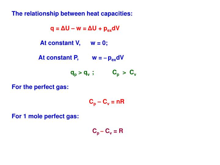 The relationship between heat capacities: