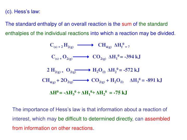 (c). Hess's law: