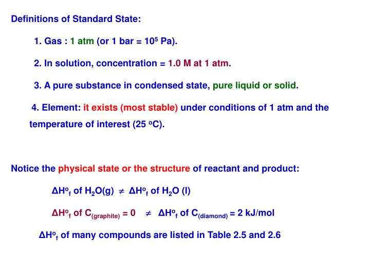 Definitions of Standard State:
