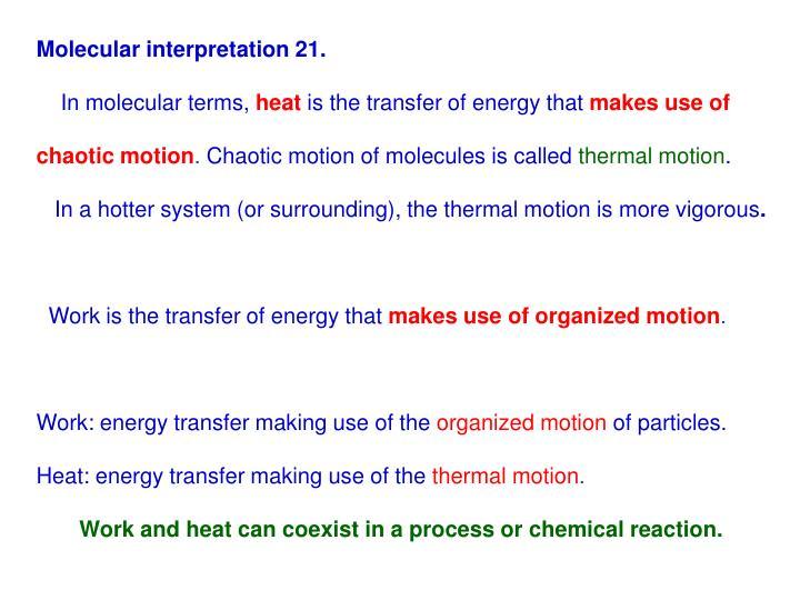 Molecular interpretation 21.