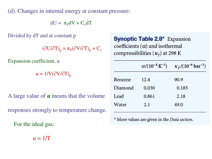 (d). Changes in internal energy at constant pressure: