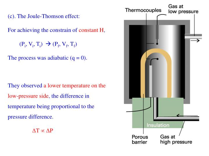 (c). The Joule-Thomson effect: