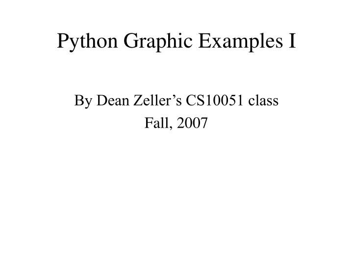 Python graphic examples i