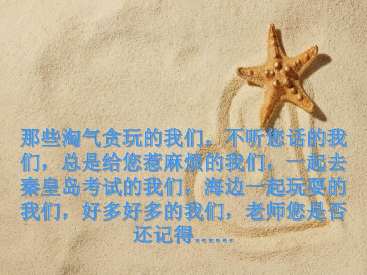 那些淘气贪玩的我们,不听您话的我们,总是给您惹麻烦的我们,一起去秦皇岛考试的我们,海边一起玩耍的我们,好多好多的我们,老师您是否还记得