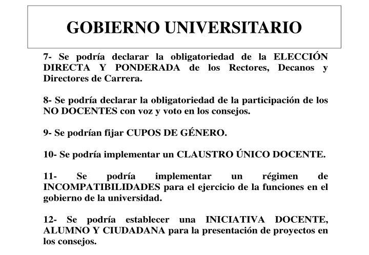 GOBIERNO UNIVERSITARIO