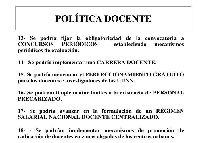 POLÍTICA DOCENTE