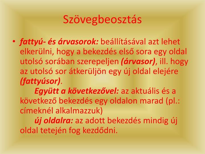 Szvegbeoszts
