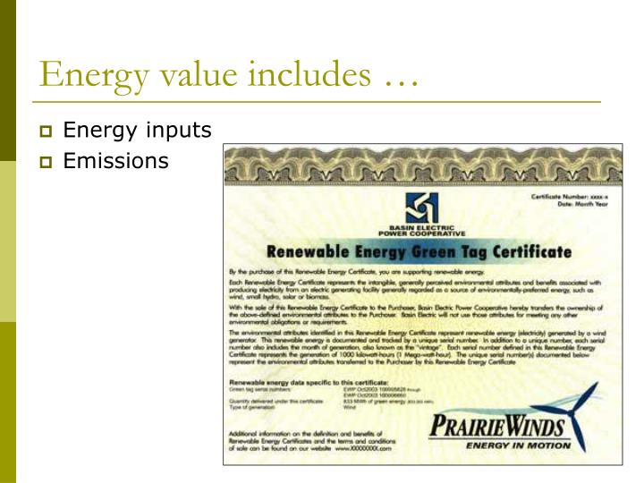 Energy value includes …