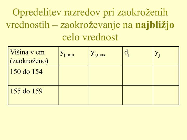 Opredelitev razredov pri zaokroženih vrednostih – zaokroževanje na