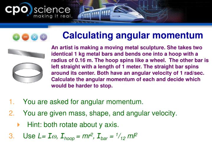 Calculating angular momentum