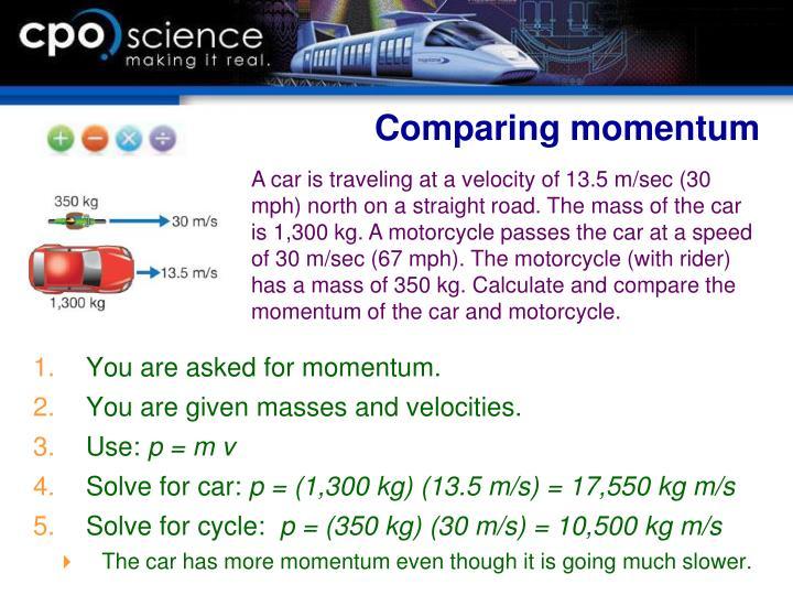 Comparing momentum