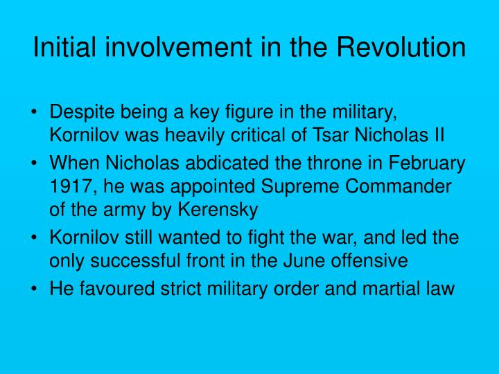 Initial involvement in the revolution
