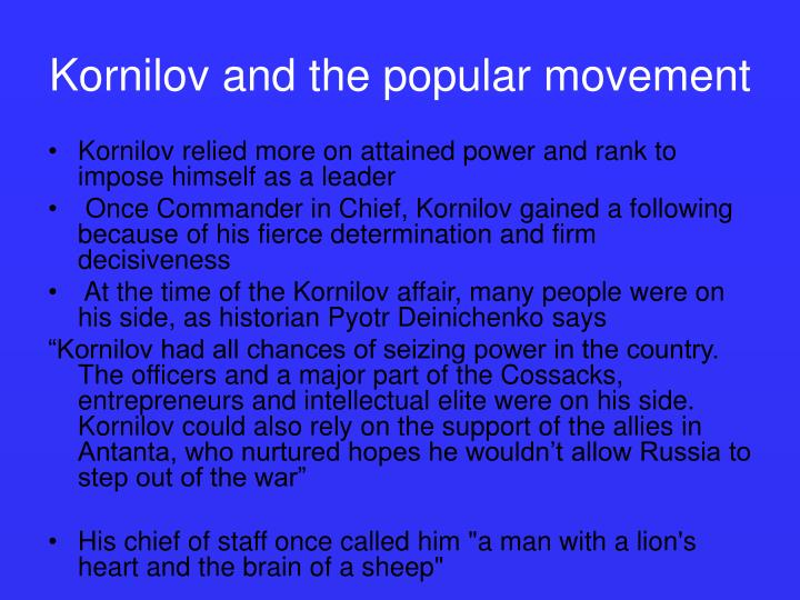 Kornilov and the popular movement