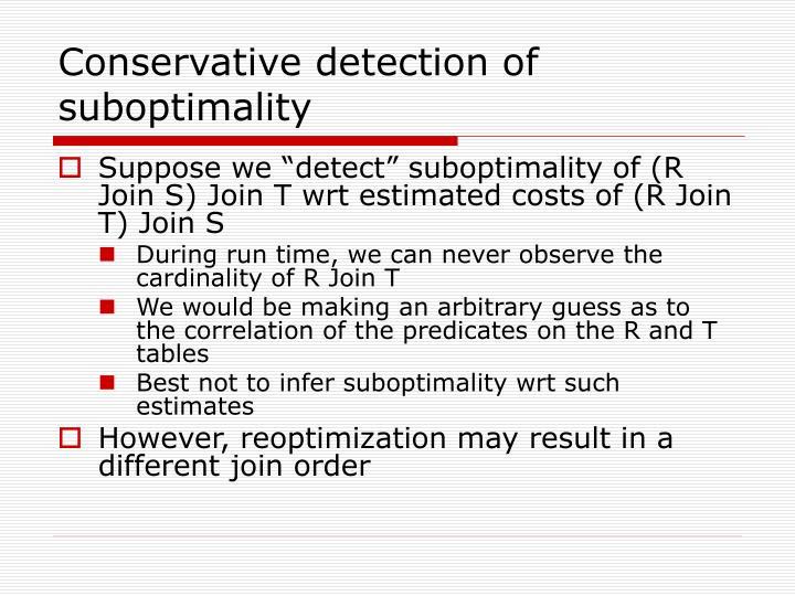 Conservative detection of suboptimality