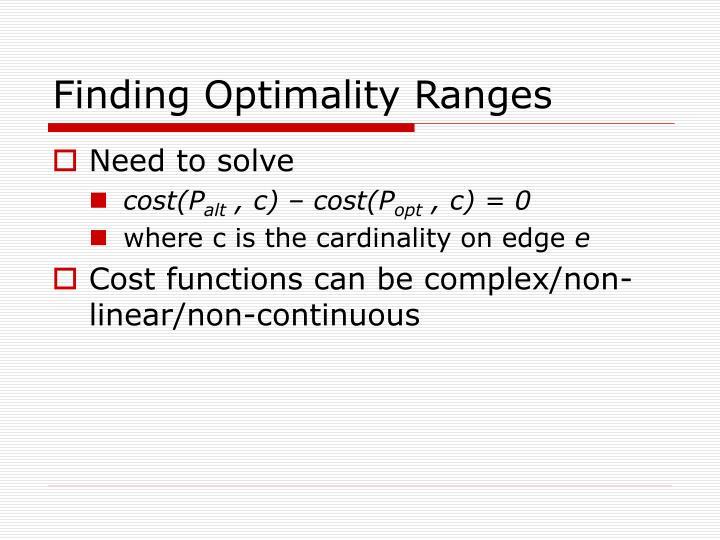 Finding Optimality Ranges