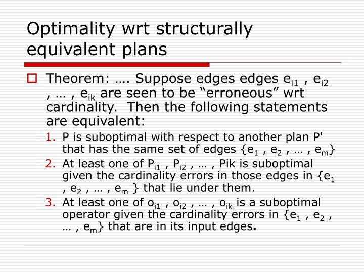 Optimality wrt structurally equivalent plans