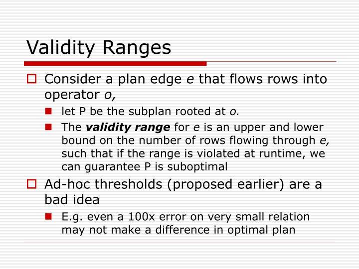 Validity Ranges