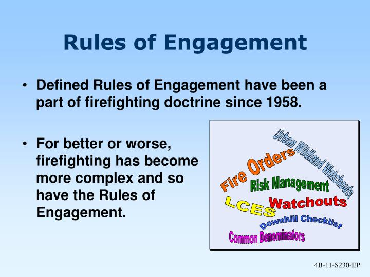 Defined Rules of Engagement have been a part of firefighting doctrine since 1958.