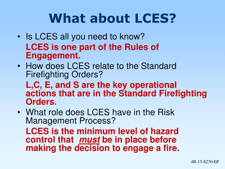 What about LCES?