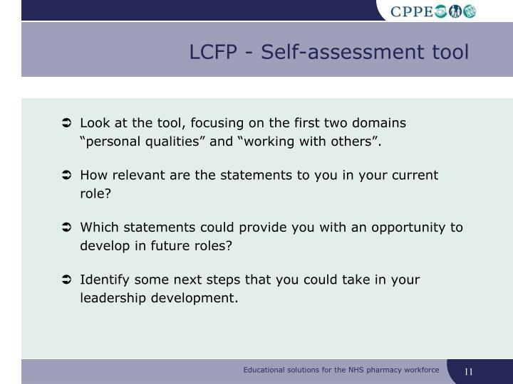 LCFP - Self-assessment tool