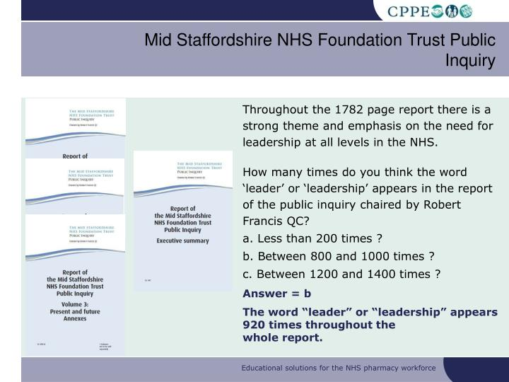 Mid Staffordshire NHS Foundation Trust Public Inquiry