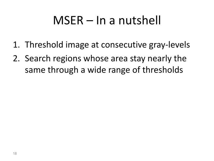 MSER – In a nutshell